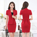 New Fashion 2016 Summer Novelty Red Professional Summer Short Sleeve Business Career Suits Jackets And Mini Skirt Beauty Salon
