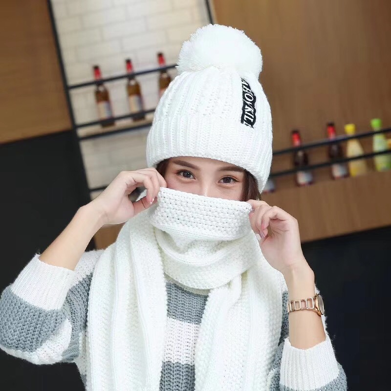 Fashion Hat Scarf Set For Female Women Letter Knitted Caps Scarf Set Hats And Scarves Sets Windproof Warm Winter Scarf Hats New