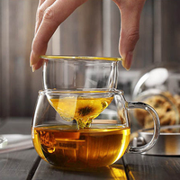 Hand Blown Heat Resistant Glass Tea Cup with Lid and Infuser 300ml Borosilicate Glass Tea Cup Innovative Tea Bottle with Filter|Transparent|Home & Garden -