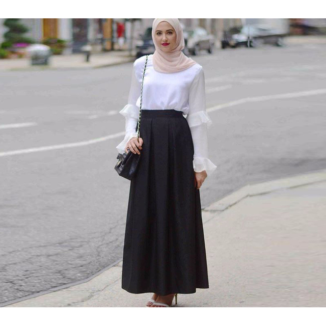 Super Moslim Zwarte Maxi Rok Een Lijn Floor Lengte Lange Rok Geplooide #DU31