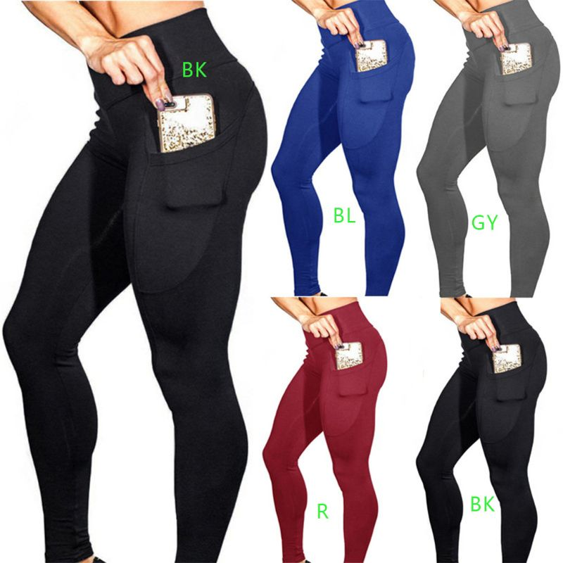 Women High Waist Tummy Control Running Sport Long Pants 4 Way Stretch Solid Color Workout With Side Pockets