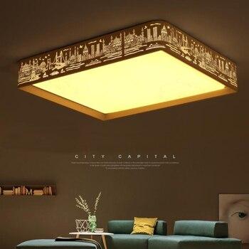 Lámpara De Techo Moderna LED, Iluminación Minimalista Acrílica, Hierro Creativo, Sala De Estar, Lámpara De Techo LED Con Pantalla De Paisaje Urbano