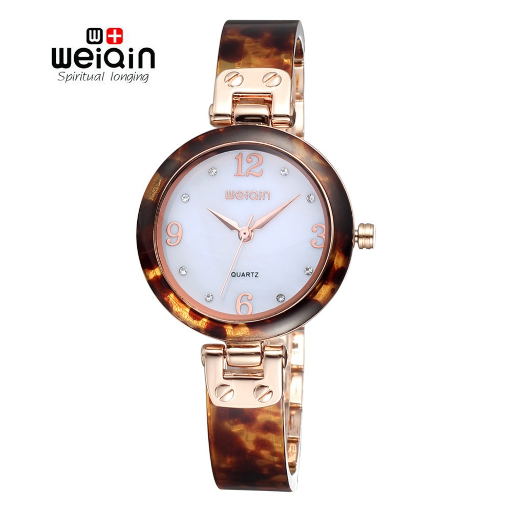 WEIQIN 2017 New Rose Gold Watches Women Resin Band Shell Dial Analog Quartz Wristwatches Hardlex Rhinestone Display Luxury Watch weiqin new rose gold watches women resin band shell dial analog quartz wirstwatch hardlex rhinestone display luxury watch