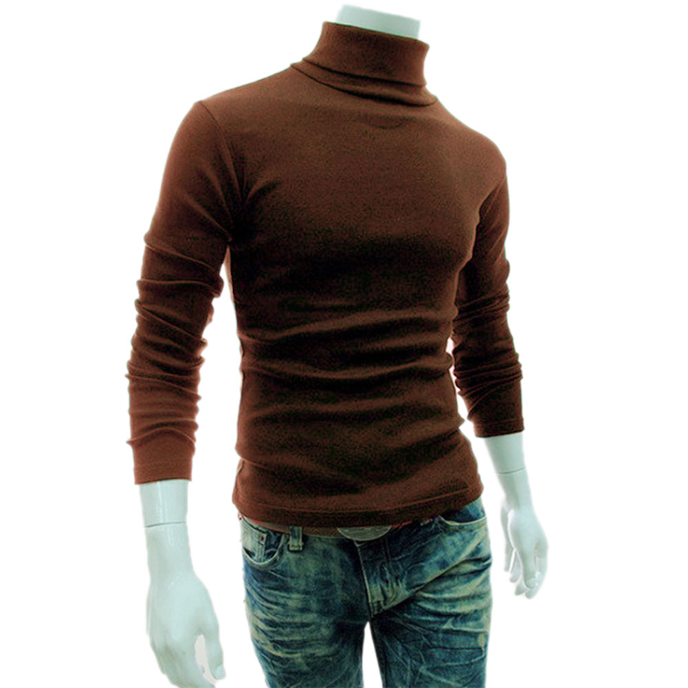 Newly Casual Men Long Sleeve Knitwear Autumn Winter Turtle Neck Slim Fit Basic Pullover Tops DO99