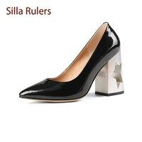Silla Rulers New Designe Strange Hollow Five Star High Heel Women Pumps Pointed Toe Chunky Heel