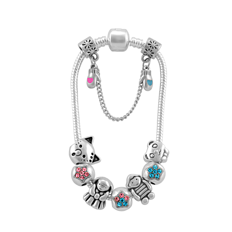 2019 New Design Boy And Girl Charms Bracelet For Women With Lovely Cat Dog Bead Bracelets Jewelry Fashion PA161 in Charm Bracelets from Jewelry Accessories