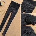 Maternidade Jeans Calças Para Grávidas Plus Size Jeans Cintura Elástica Roupas de Gravidez Preto Skinny Jeans Calças