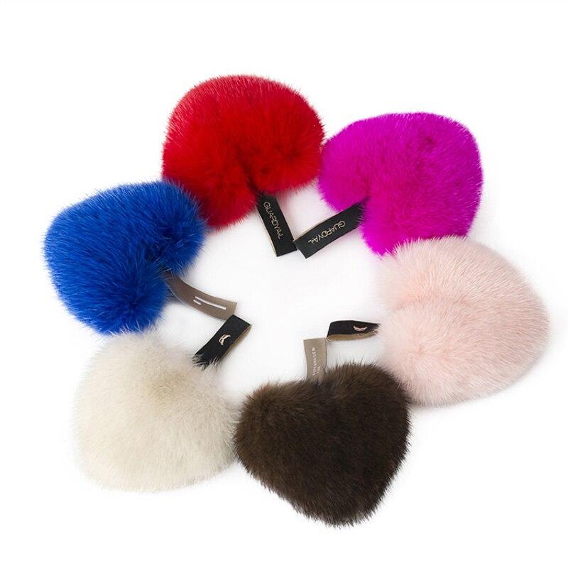 2018 réel vison coeur porte-clés mignon fourrure lecteur sûr porte-clés amour pompon fourrure porte-clés pour les femmes portefeuille sac à main pendentif porte-clés