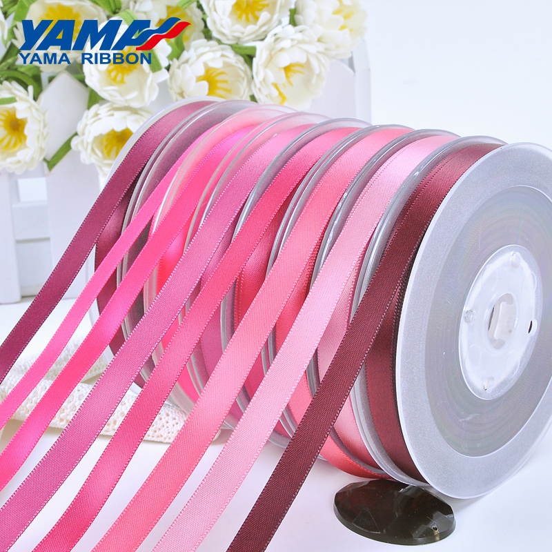 YAMA 50 57 63 75 89 100 mm 100yards lot Double Face Satin Ribbon Pink Red for Party Wedding Decoration Handmade Rose Flowers in Ribbons from Home Garden
