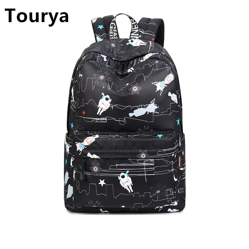 Tourya Fashion Waterproof Polyester Women Backpack Large Capacity Astronaut Pattern Printing Girls School Bags Travel Backbag