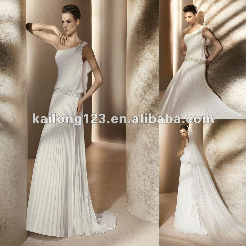 352f5087 One shoulder Sheath Floor length Beaded Appliques Pleated Chiffon Couture Wedding  Dress-in Wedding Dresses from Weddings & Events on Aliexpress.com ...