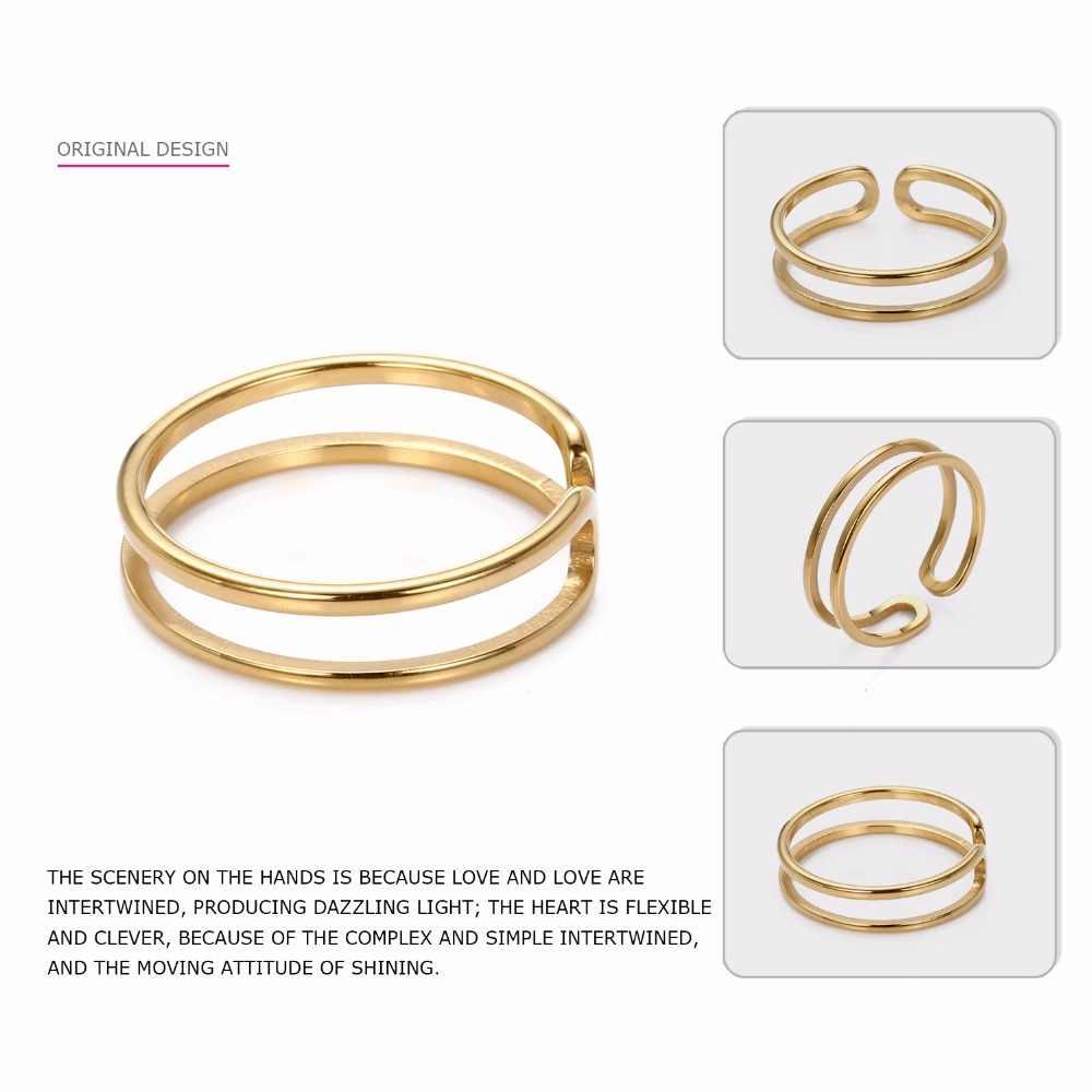 טבעת אצבע נירוסטה טבעות לנשים פתוח מתכוונן שכבה כפולה טבעות ב זהב צבע נישואי מתנות