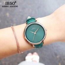 IBSO Neue Marke Mode Einfache Frauen Uhren 2020 Grün Echtes Leder Strap Damen Quarz Uhr Weibliche Wasserdichte Montre Femme