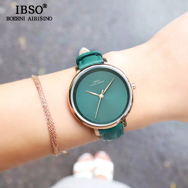 IBSO New Brand Fashion Simple Women Watches 2020 Green Genuine Leather Strap Ladies Quartz Watch Women Waterproof Montre Femme