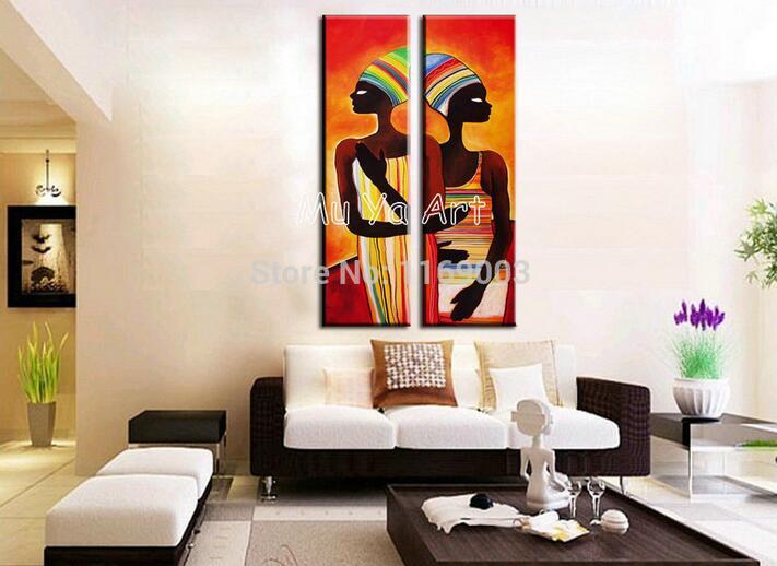 Abstract modern Vertical canvas wall art large wall African women ...