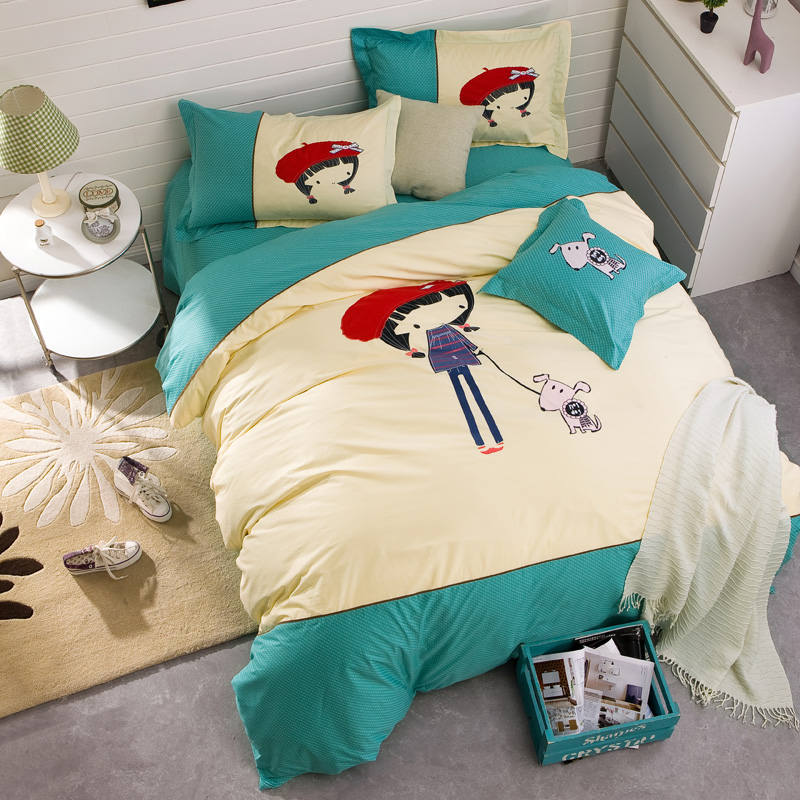 Turquoise Yellow Cartoon Girls Applique Embroidered Bedding Sets Twin Full Queen Size Duvet Covers Bedspreads Cotton Woven BabysTurquoise Yellow Cartoon Girls Applique Embroidered Bedding Sets Twin Full Queen Size Duvet Covers Bedspreads Cotton Woven Babys