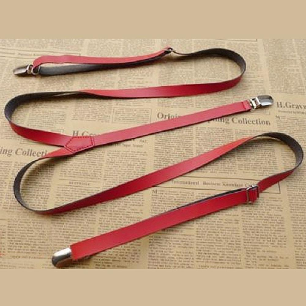 1.3*110cm Mens Womens Leather Suspenders Y-Back Retro Braces Clip-On 6 Colors