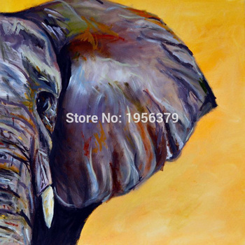 Handmade Elephant Ears Oil Pianting on Canvas No Frame Wall Oil Painting for Home and Hotel Decoration Modern Animals Painting