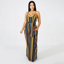 2019 Women Striped Print Long Maxi Dress Bohemian Summer Casual Loose Dress Plus Size Sexy Spaghetti Strap Bandage Party Dresses все цены