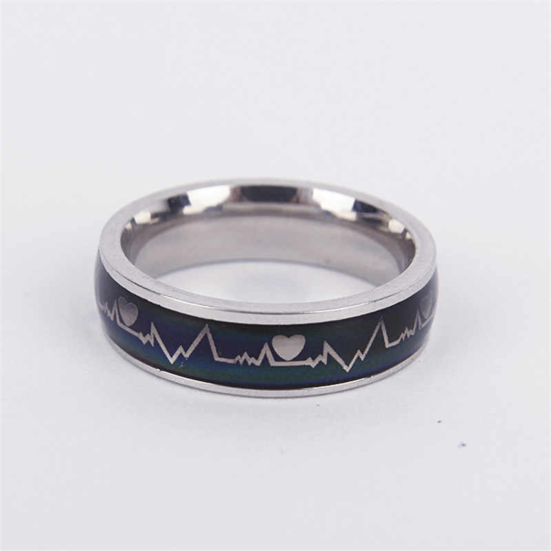 ZORCVENS pierścień ze stali nierdzewnej zmieniający kolor pierścienie nastroju uczucie/Emotion pierścień temperatury szeroki 6mm inteligentna biżuteria