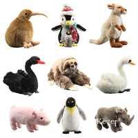 9 Styles Three Toed Sloth Penguin Fluffy Cuddly Plush Toy Stuffed Animals Black Swan Kiwi Plushy Simulated Soft Dolls 23-36cm
