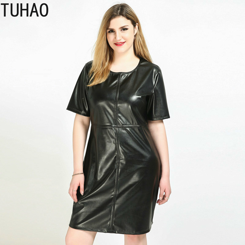 TUHAO  Women Punk Style Dresses Big Size 5XL 6XL 7XL 2019 LARGE Women Loose PU Nightclub Dress Spring Plus Size Summer  Dress RL