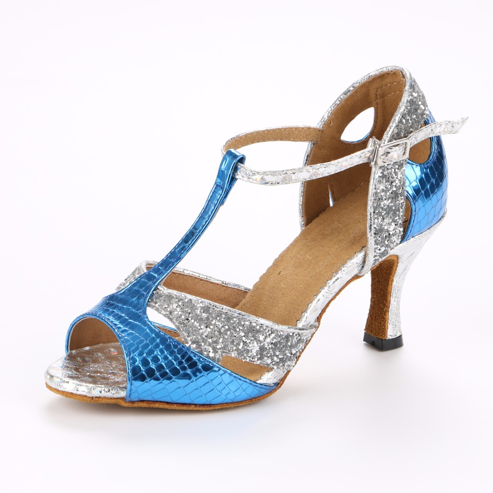 Women Latin Ballroom Dance Shoe Salsa Sandal Female Samba Tango Party Wedding Dance shoes High Heel 7.5 cm VA33