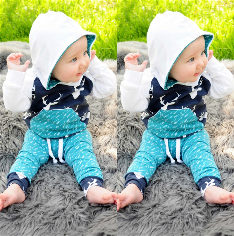 2018 New Style Fashion Hot Xmas Toddler Kids Baby Boy Girl Clothes Deer Hooded Tops Pants Outfits Baby Clothing Set