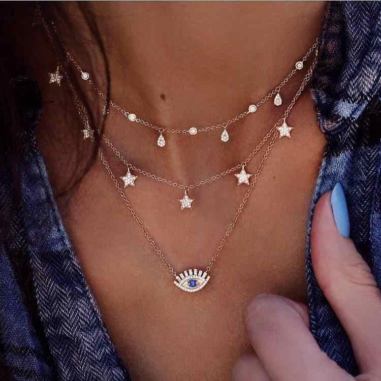 สีทองยาวพู่ Moon สร้อยคอและจี้สำหรับผู้หญิงหลายชั้น Sequins Choker สร้อยคอคริสตัล Eye Earth Star Chokers JK