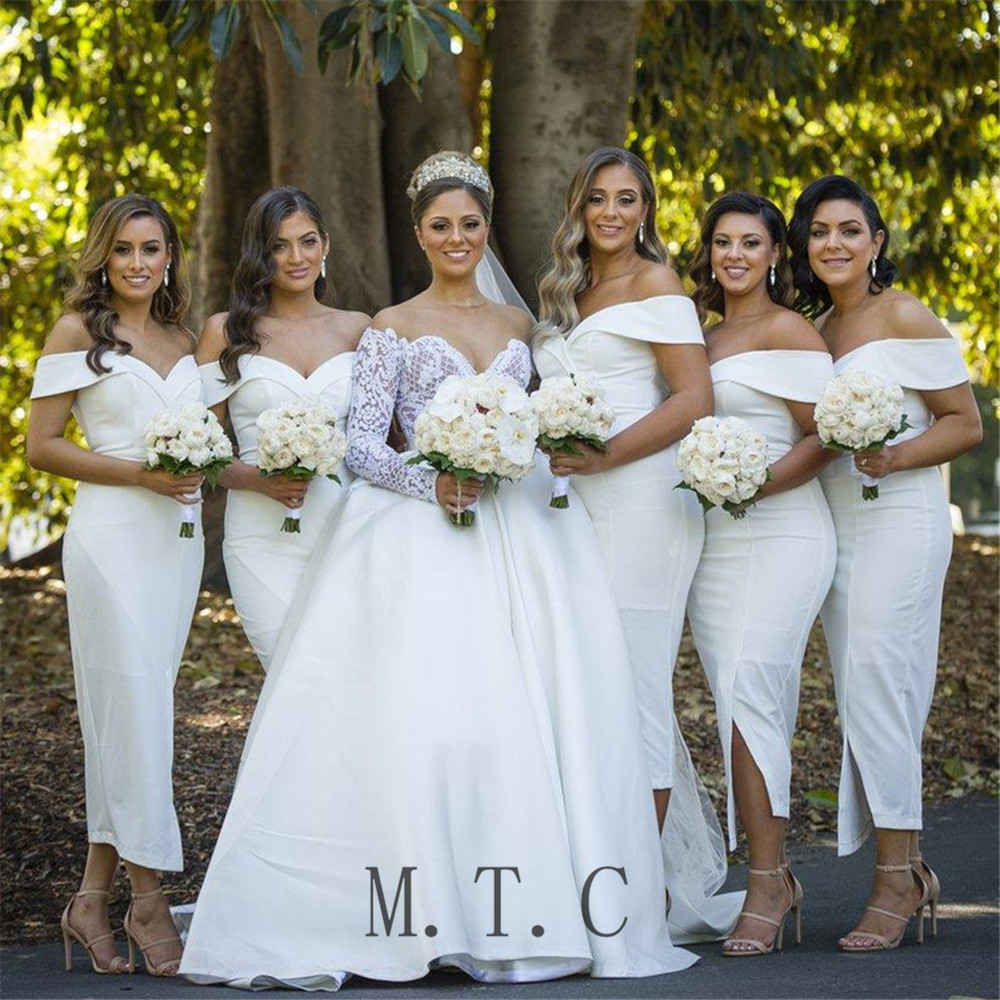 2019 Short White Bridesmaid Dresses Sheath Style Tea Length Boat Neck Off The Shoulder Simple Women Wedding Party Gowns Cheap