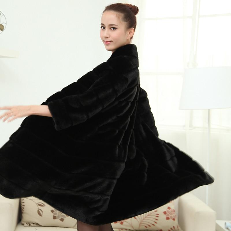 Nerazzurri Winter Faux Fur Coat Women Long Fluffy Plus Size Striped Thick Warm Furry Colored Fake Rex Rabbit Fur Jacket 5XL 6XL