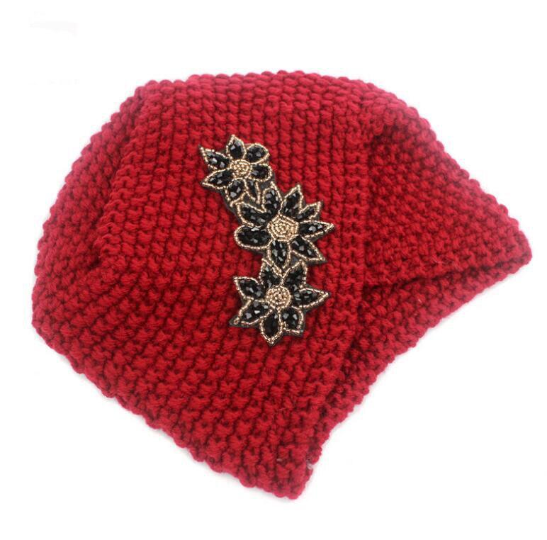 3bf00229fb4 2016 New Fashion women winter warm hats India Turban Hats soft knit Beanie  crochet headwrap flower women hat cap headwear-in Skullies   Beanies from  Apparel ...