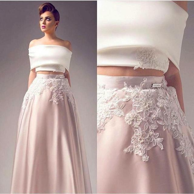 ded386a35c8 2016 Latest Two Pieces Prom Gowns Sexy Off Shoulder Lace Appliques Satin A  Line Evening Dresses Robe De Soiree