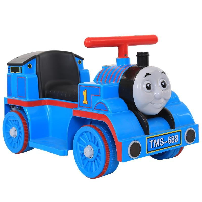 Маленький паровозик Томас, игрушечный автомобиль для детей, Электрический локомотив, Детская горка, ходунки с музыкой, Детский Электрический четырехколесный автомобиль - 4