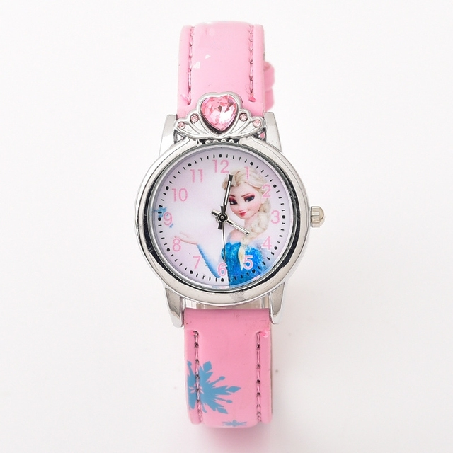 2018 Эльза принцессы Кварц детские спортивные Мода Мультфильм Кожа часы наручные часы для мальчика студентов Рождество Relogio Часы