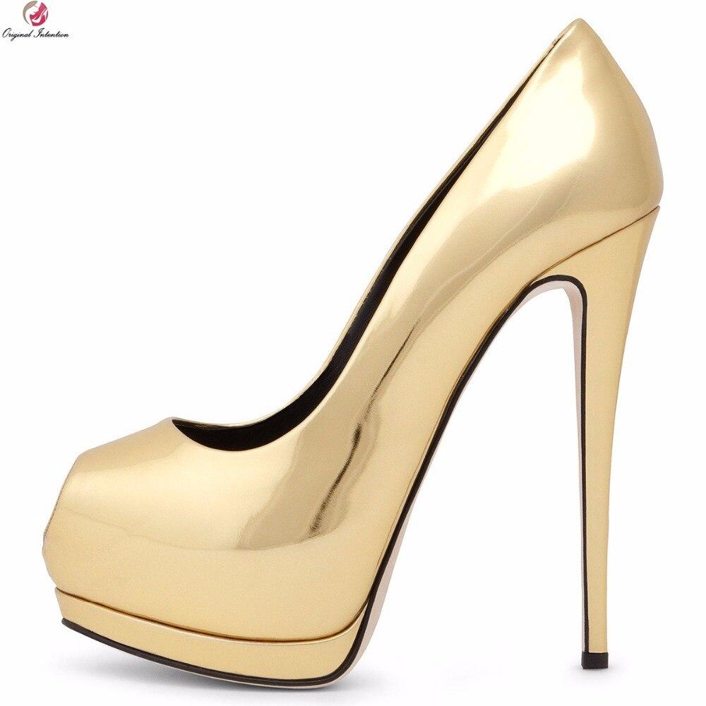Original Intention Women Platform Pumps Elegant Peep Toe Thin High Heels Black Gold Silver Blue Shoes Woman Plus US Size 5-12