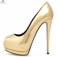 Originele Bedoeling Vrouwen Platform Pumps Elegante Peep Toe Dunne Hoge hakken Zwart Goud Zilver Blauw Schoenen Vrouw Plus US Size 5-12