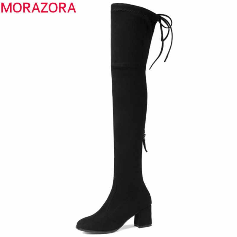 MORAZORA 2019 yeni moda streç akın deri kadın botları yüksek topuk uyluk yüksek diz çizmeler üzerinde bayanlar sonbahar kış çizmeler