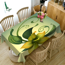 Senisaihon Rectangular 3D Tablecloth Yellow Tropical Rainforest Singular Flowers Pattern Dustproof Table cloth Christmas Gift