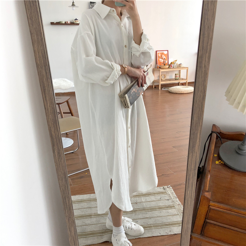 Vintage autumn Long Dress long Sleeve shirt turn down collar woman Lady loose shirt Casual Fashion maxi Dress cotton blue white 22