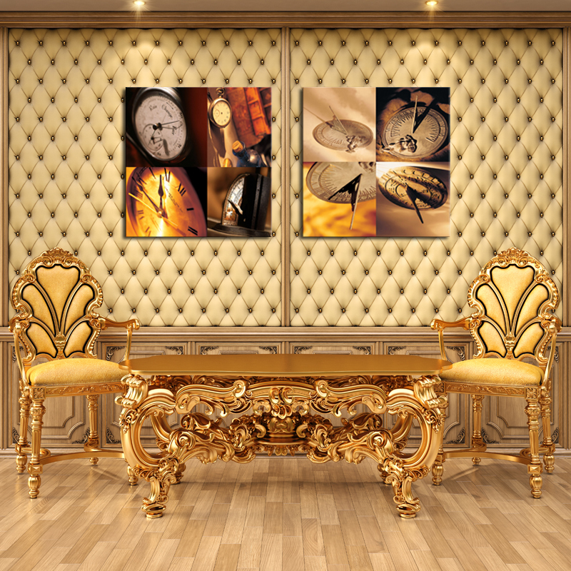 Unframed 2 sets Abstract Clock Modern Home Wall Decor Canvas Picture ...