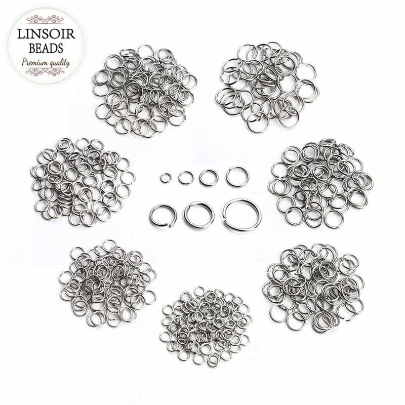 200pcs/lot Stainless Steel 3/4/5/6/7/8/10mm Open Jump Rings Silver Tone Split Rings Connectors For Necklace Jewelry Making F3703