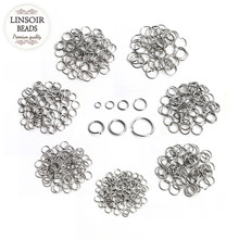 200pcs/lot Stainless Steel 3/4/5/6/7/8/10mm Open Jump Rings Silver Tone Split Rings Connectors For Necklace Jewelry Making F3703 цена в Москве и Питере