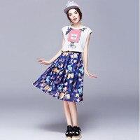 Adogirl Organza 2 Sztuka Zestaw Kobiety Lato Zestawy Z Krótkim Rękawem T koszula i Midi Skater Skirt Set Floral Print Plus Rozmiar Ubrania Zestaw