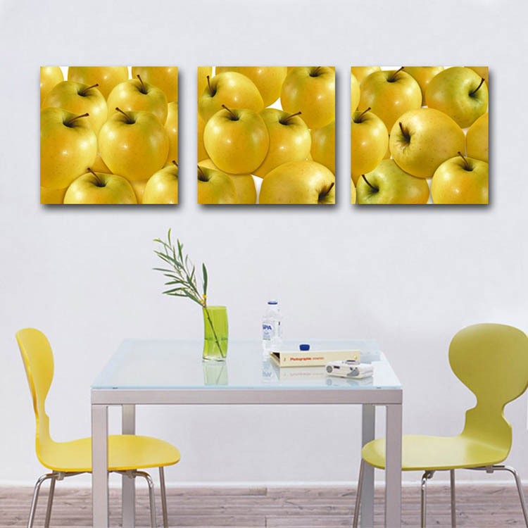 2017 3 Panels Wall Canvas Painting Dinning Room Decor Art Pictures Yellow  Apple Fruit Paintings Kitchen Cupboard Decor