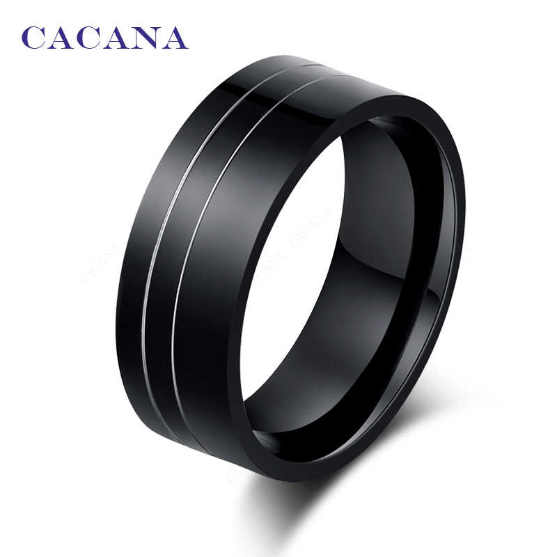 CACANA  Stainless Steel Rings For Women Black With 2 Silver Lines Fashion Jewelry Wholesale NO.R41