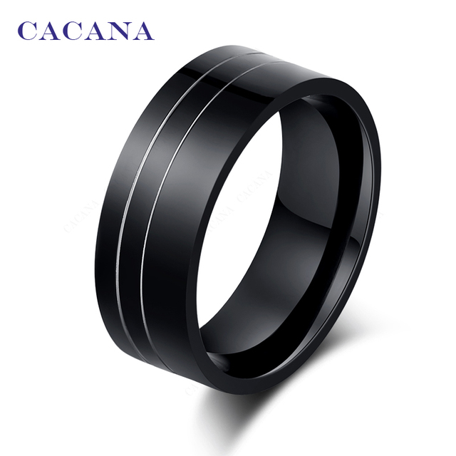 CACANA Titanium Stainless Steel Rings For Women Black With 2 Silver Lines Fashio