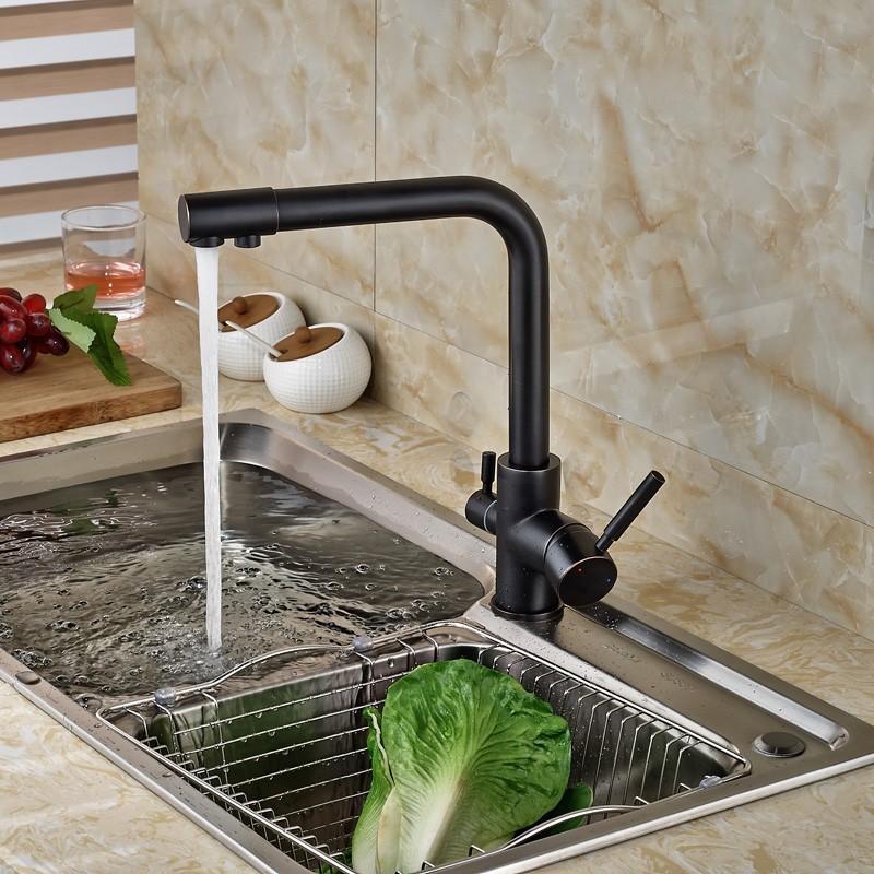 Oil-Rubbed-Bronze-Kitchen-Faucet-Hot-Cold-Mixer-Tap-W-Pure-Water-Spout-Dual-Handles (1)