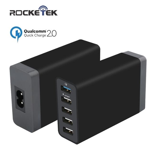 Rocketek 8A Carga Rápida 2.0 Carregador 5 USB Inteligente Rápido turbo carregador de celular para samsung galaxy s6 edge xiaomi iphone7 UE