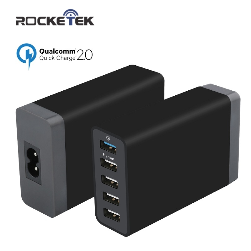 Rocketek 8A Quick Charge 2.0 Charger 5 USB Smart Fast Turbo s